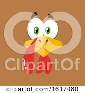 Clipart Of A Turkey Bird Face On A Brown Background Royalty Free Vector Illustration