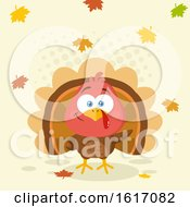 Clipart Of A Cute Little Turkey Bird With Falling Leaves Royalty Free Vector Illustration