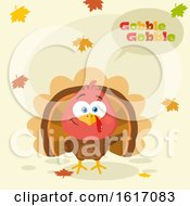 Clipart Of A Cute Little Turkey Bird Saying Gobble Gobble With Falling Leaves Royalty Free Vector Illustration
