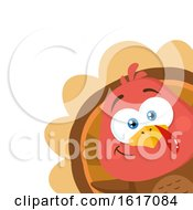 Clipart Of A Cute Little Turkey Bird Peeking Around A Corner Royalty Free Vector Illustration