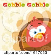 Clipart Of A Cute Little Turkey Bird Peeking Around A Corner Over Leaves With Gobble Gobble Text Royalty Free Vector Illustration