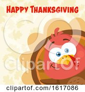Clipart Of A Cute Little Turkey Bird Peeking Around A Corner Over Leaves With Happy Thanksgiving Text Royalty Free Vector Illustration