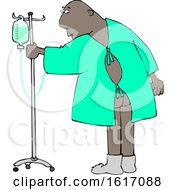 Clipart Of A Cartoon Black Man Wearing A Hospital Gown And Realizing His Butt Is Showing Royalty Free Vector Illustration