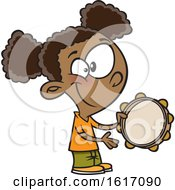 Cartoon Black Girl Playing A Tambourine