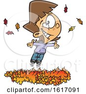 Clipart Of A Cartoon White Girl Playing In A Pile Of Autumn Leaves Royalty Free Vector Illustration by toonaday