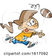 Clipart Of A Cartoon White Girl Catching A Football Royalty Free Vector Illustration