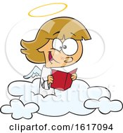 Clipart Of A Cartoon Happy Angel Girl Reading On A Cloud Royalty Free Vector Illustration