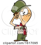 Clipart Of A Cartoon White Scout Boy Saluting Royalty Free Vector Illustration