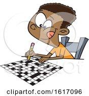 Poster, Art Print Of Cartoon Black Boy Doing A Crossword Puzzle