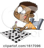 Clipart Of A Cartoon Black Boy Doing A Crossword Puzzle Royalty Free Vector Illustration