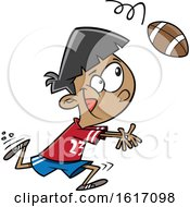 Clipart Of A Cartoon Boy Catching A Football Royalty Free Vector Illustration