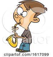 Clipart Of A Cartoon White Boy Playing A Saxophone Royalty Free Vector Illustration