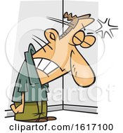 Clipart Of A Cartoon Frustrated White Man Banging His Head Against A Wall Royalty Free Vector Illustration