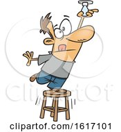 Cartoon White Man Balancing On A Stool To Change A Light Bulb