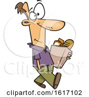 Cartoon White Man Walking And Carrying A Bag Of Groceries
