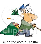 Clipart Of A Cartoon White Man Carrying A Rake And Pulling Al Leaf Bag Royalty Free Vector Illustration