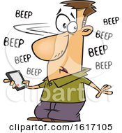 Clipart Of A Cartoon White Man Holding A Cell Phone That Is Beeping With Messages Royalty Free Vector Illustration