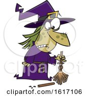 Clipart Of A Cartoon Witch With A Broken Broom Royalty Free Vector Illustration