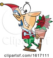 Clipart Of A Cartoon Christmas Elf Holding A Poinsettia Plant Royalty Free Vector Illustration