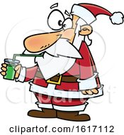 Clipart Of A Cartoon Santa Drinking A Green Smoothie Royalty Free Vector Illustration