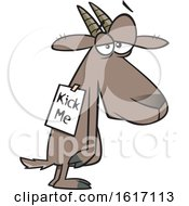 Clipart Of A Cartoon Depressed Bullied Goat Wearing A Kick Me Sign Royalty Free Vector Illustration by toonaday