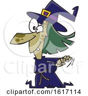 Clipart Of A Cartoon Witch Dancing Royalty Free Vector Illustration