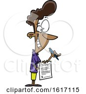 Clipart Of A Cartoon Black Woman Holding A Contractual Agreement Royalty Free Vector Illustration
