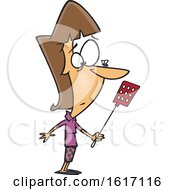 Cartoon White Woman Holding A Swatter And Looking At A Fly On Her Nose