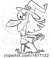 Clipart Of A Cartoon Black And White Witch Dancing Royalty Free Vector Illustration