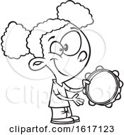 Clipart Of A Cartoon Black And White Black Girl Playing A Tambourine Royalty Free Vector Illustration