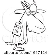 Clipart Of A Cartoon Black And White Depressed Bullied Goat Wearing A Kick Me Sign Royalty Free Vector Illustration
