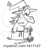 Clipart Of A Cartoon Black And White Witch With A Broken Broom Royalty Free Vector Illustration