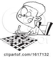 Poster, Art Print Of Cartoon Outline Black Boy Doing A Crossword Puzzle