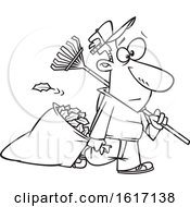 Clipart Of A Cartoon Black And White Man Carrying A Rake And Pulling Al Leaf Bag Royalty Free Vector Illustration