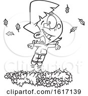 Cartoon Outline Girl Playing In A Pile Of Autumn Leaves
