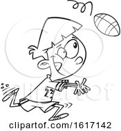 Cartoon Outline Boy Catching A Football