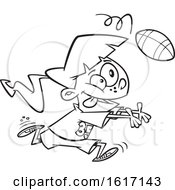 Cartoon Outline Girl Catching A Football