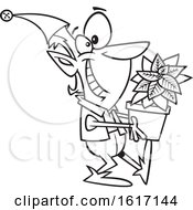 Clipart Of A Cartoon Black And White Christmas Elf Holding A Poinsettia Plant Royalty Free Vector Illustration