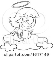Clipart Of A Cartoon Black And White Happy Angel Girl Reading On A Cloud Royalty Free Vector Illustration