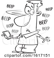 Cartoon Outline Man Holding A Cell Phone That Is Beeping With Messages