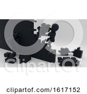 3d Black Characters Building A Puzzle Wall On A Shaded Background