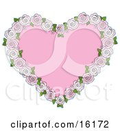 Pink Heart Bordered By Pale Pink And White Roses For An Anniversary Or Valentine