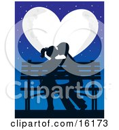 Silhouetted Romantic Couple Kissing And Making Out While Sitting On A Bench Under The Stars In Front Of A Full Heart Shaped Moon On Valentines Day