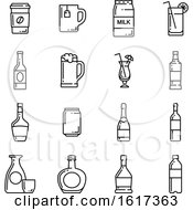 Poster, Art Print Of Black And White Drink Icons