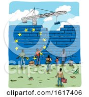 Poster, Art Print Of People At An European Flag Border Wall Being Built By A Crane