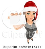 3d Brunette Caucasian Christmas Business Woman Holding Out A Business Card On A White Background