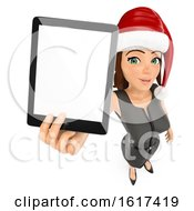 3d Brunette Caucasian Christmas Business Woman Holding Out A Tablet On A White Background