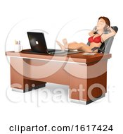 3d Business Woman In A Bikini Resting Her Feet On Her Office Desk On A White Background