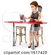 3d Brunette Caucasian Business Woman Eating Breakfast And Using A Tablet On A White Background