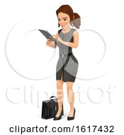 3d Brunette Caucasian Business Woman Using A Tablet On A White Background